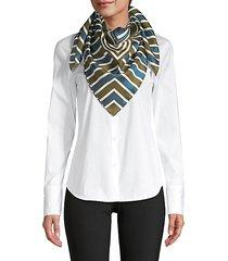 bicolor geometric silk scarf