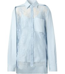 burberry lace panel oversized shirt - pale blue