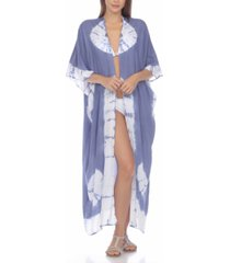 raviya tie-dye kimono maxi cover-up women's swimsuit