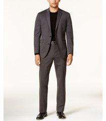 kenneth cole reaction men's slim-fit charcoal knit ready flex suit