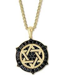 """effy men's black diamond star of david ship's wheel 22"""" pendant necklace (5/8 ct. t.w.) in 14k gold"""