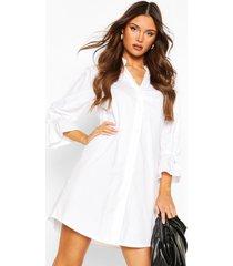 cotton collarless flute sleeve shift dress, white
