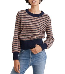 women's madewell striped tensley pullover sweater, size medium - blue