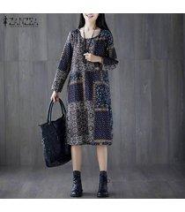 zanzea mujer de manga larga vestido a media pierna de gran tamaño de la camisa étnica kaftan vestido más del tamaño -azul marino