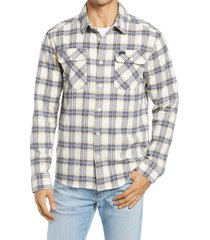 men's rvca that'll work regular fit plaid flannel button-up shirt, size small - white