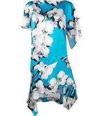 roberto cavalli asymmetric orchid print shift dress - blue
