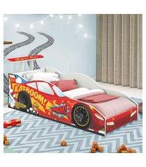 cama carro corredor solteiro vermelho casah