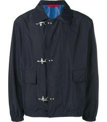 fay toggle fastening jacket - blue