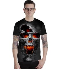 camiseta lucinoze camisetas manga curta crânio preta