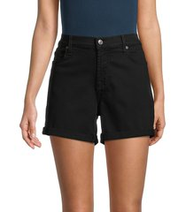 7 for all mankind women's rolled-cuff denim shorts - black - size 30 (8-10)