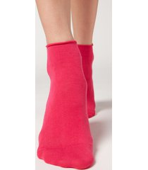 calzedonia extra short flat-knit bandless cotton socks woman pink size tu