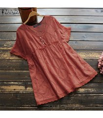zanzea plus size summer t-shirt tops hollow out lace crochet tee shirt blusa -naranja