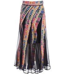 sacai long embroidered skirt
