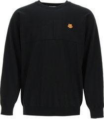 kenzo over sweater with tiger crest patch