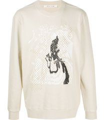 1017 alyx 9sm abstract-print perforated sweatshirt - neutrals