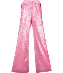 alberta ferretti side stripe sequin palazzo trousers - pink