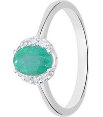anello in oro bianco, smeraldo 0,65 ct e diamanti 0,09 ct per donna