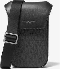 mk borsa a tracolla greyson con logo per smartphone - nero (nero) - michael kors