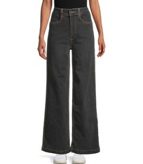 weworewhat women's utility straight leg jeans - black - size 24 (0)