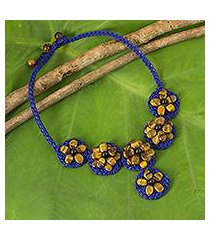 tiger's eye beaded flower necklace, 'brown daisy' (thailand)