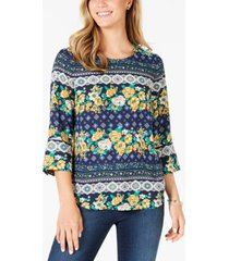 charter club petite 3/4-sleeve printed top, created for macy's