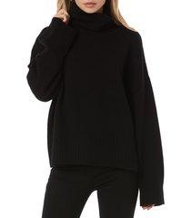 women's favorite daughter cowl neck wool & cashmere sweater, size medium - black