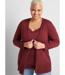 lane bryant women's lane essentials rib-trim cardigan 10/12 zinfandel