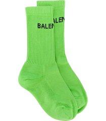 balenciaga logo knit socks - green