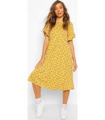 ditsy floral midi smock dress, mustard