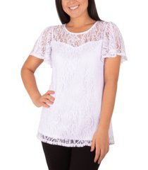 ny collection lace flutter-sleeve top
