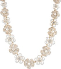 """anne klein gold-tone crystal & imitation pearl flower strand necklace, 16"""" + 3"""" extender"""