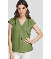 yoins verde hierba plisado diseño blusa lisa de manga corta con cuello de pico