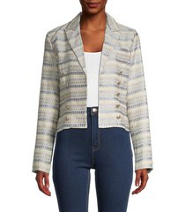 dolce cabo women's cropped tweed jacket - beige blue combo - size s