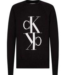 jersey de lana y algodón con monograma negro calvin klein