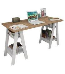 mesa escrivaninha self castanho e branco appunto
