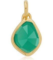 gold siren small nugget pendant charm green onyx