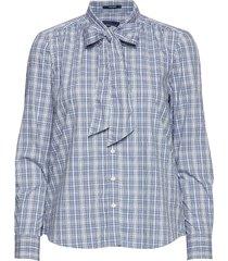 d1. tp checked bow blouse overhemd met lange mouwen blauw gant
