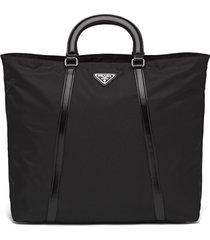 prada large nylon triangle motif tote - black