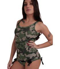 conjunto thais gusmã£o underwear regata e calcinha   militar verde - verde - feminino - dafiti