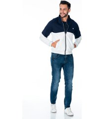 chaqueta gris con azul para hombre con bolsillos laterales y cremallera plateada