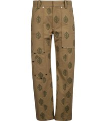 chloé logo embroidered straight-leg trousers