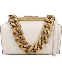 stella mccartney structured shoulder bag in white faux leather