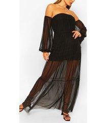bardot teired long sleeve maxi dress, black