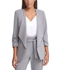 calvin klein 3/4-sleeve open-front jacket