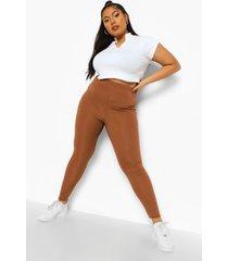 plus geribbelde skinny fit legging, choc brown