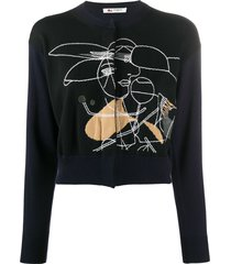 ports 1961 embroidered crop knitted cardigan - blue