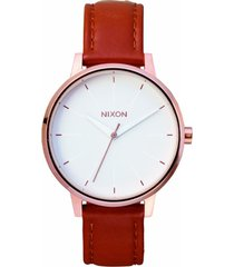 reloj kensington leather woven rose gold nixon