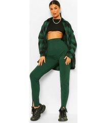 geribbelde skinny broek met split en naad details, teal