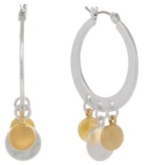 the sak two tone dangles hoop earrings