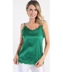blusa lencera satin verde night concept